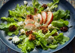 Salad with Pear, Gorgonzola Cheese and Walnuts